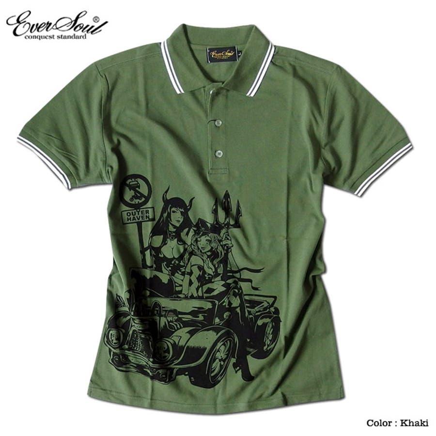ポロシャツ メンズ jb style ジェイビースタイル EVERSOUL コラボ ライン入り モーターサイクル イラスト ガールプリント ブラック 黒 白 細身 ロック 5