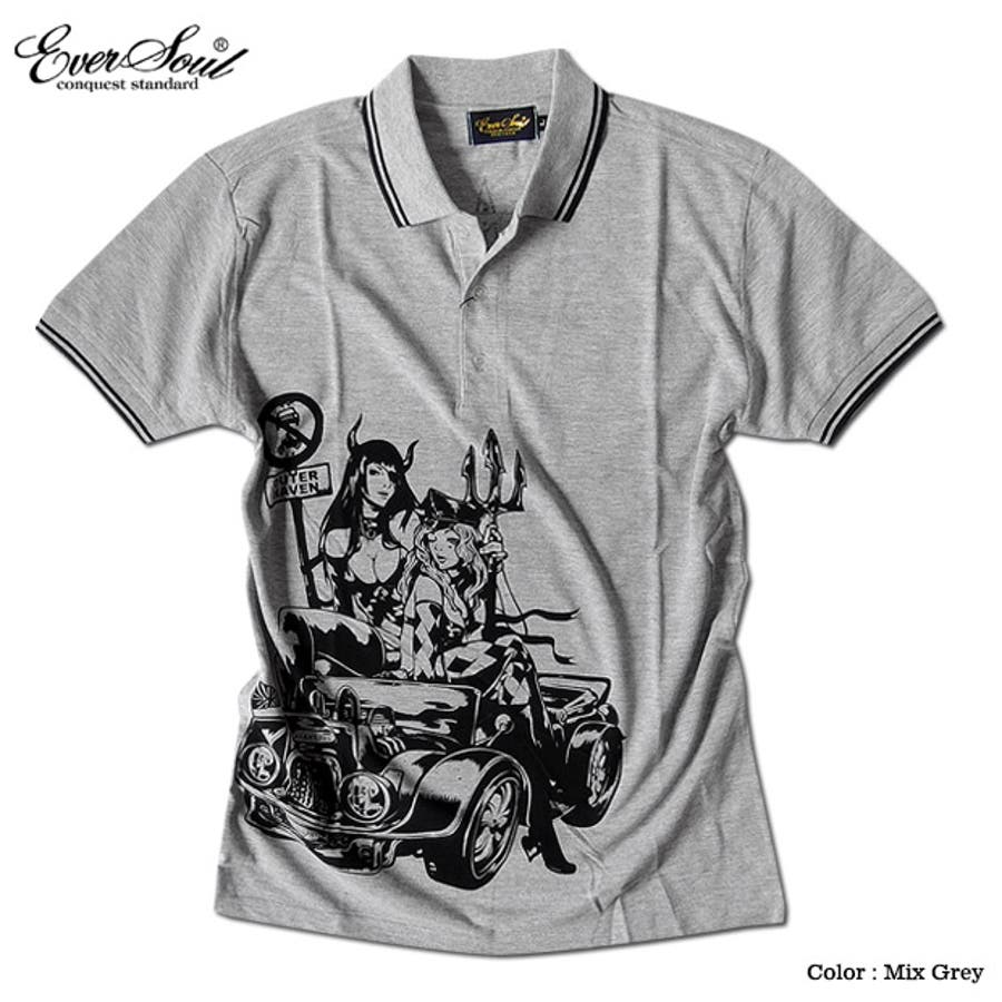 ポロシャツ メンズ jb style ジェイビースタイル EVERSOUL コラボ ライン入り モーターサイクル イラスト ガールプリント ブラック 黒 白 細身 ロック 6