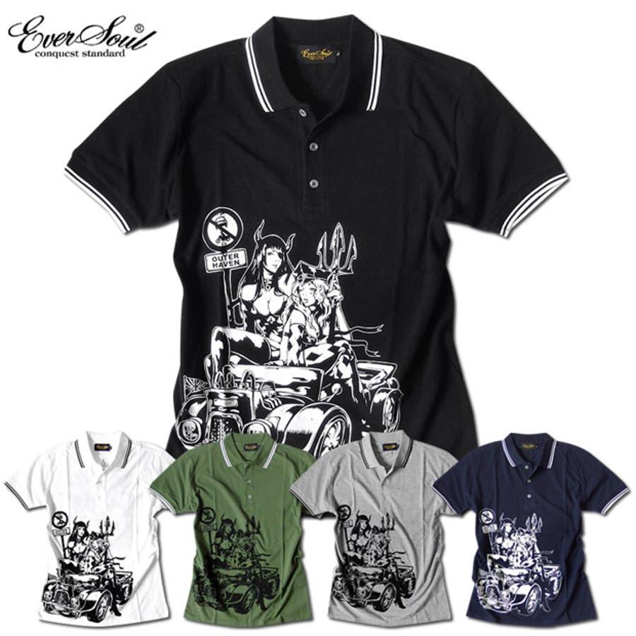ポロシャツ メンズ jb style ジェイビースタイル EVERSOUL コラボ ライン入り モーターサイクル イラスト ガールプリント ブラック 黒 白 細身 ロック 2