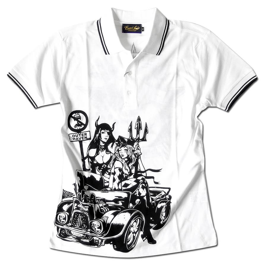 ポロシャツ メンズ jb style ジェイビースタイル EVERSOUL コラボ ライン入り モーターサイクル イラスト ガールプリント ブラック 黒 白 細身 ロック 16