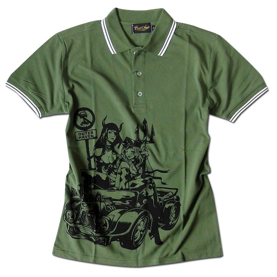 ポロシャツ メンズ jb style ジェイビースタイル EVERSOUL コラボ ライン入り モーターサイクル イラスト ガールプリント ブラック 黒 白 細身 ロック 53