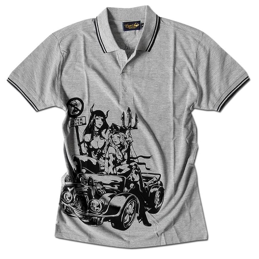 ポロシャツ メンズ jb style ジェイビースタイル EVERSOUL コラボ ライン入り モーターサイクル イラスト ガールプリント ブラック 黒 白 細身 ロック 28