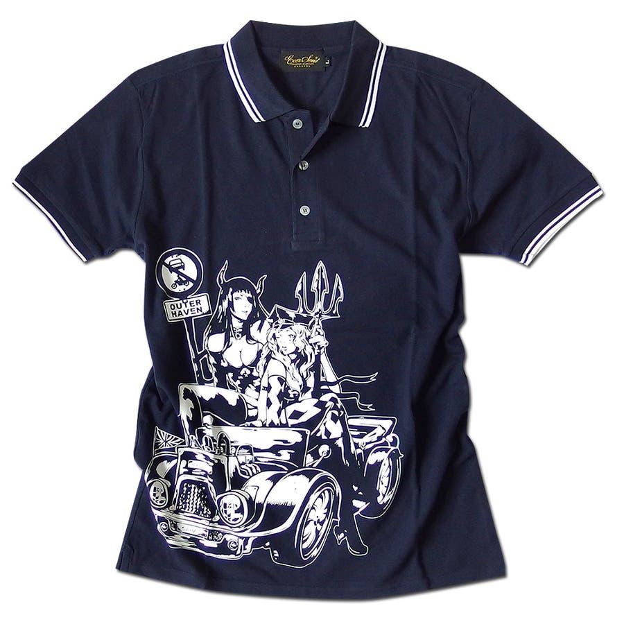 ポロシャツ メンズ jb style ジェイビースタイル EVERSOUL コラボ ライン入り モーターサイクル イラスト ガールプリント ブラック 黒 白 細身 ロック 64
