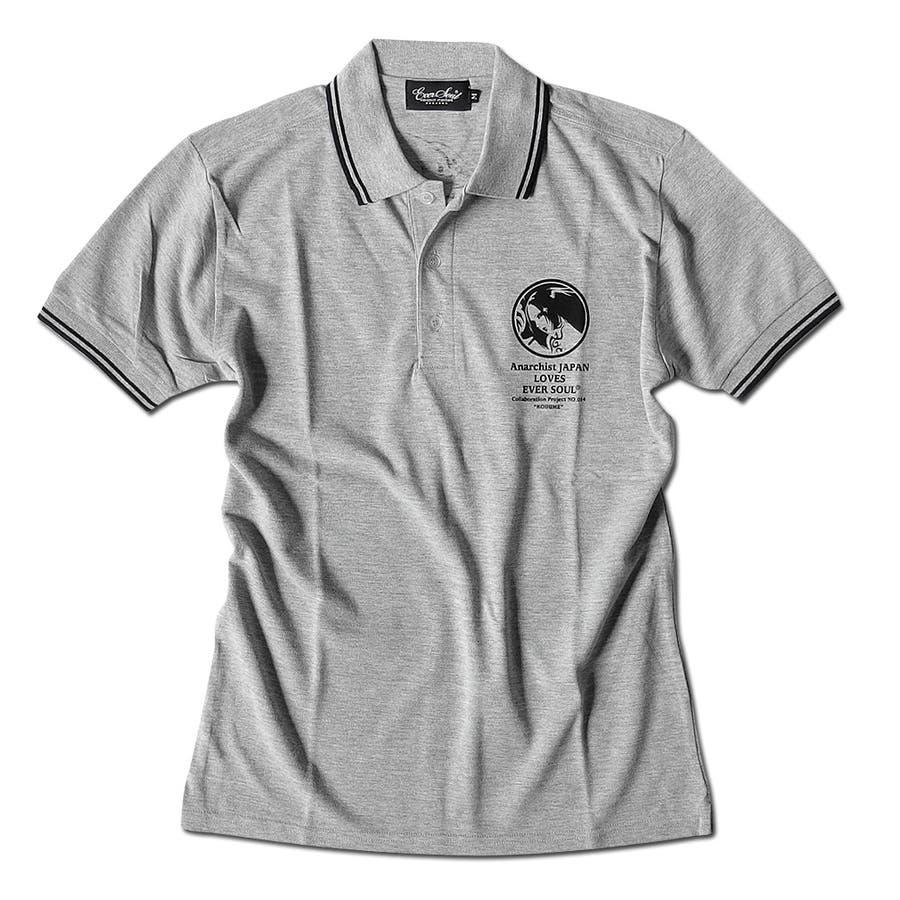 ポロシャツ 和柄 メンズ 半袖 ポロ 女の子柄 ガールプリント ポロシャツ コラボ イラスト AnarchistJAPAN x EVERSOUL 細身 ネイビー 杢グレー 28