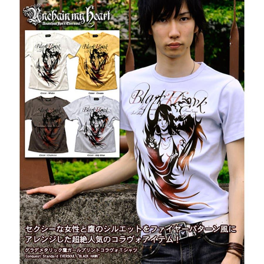 スタイルよく見えます! ホークガールプリント半袖メンズTシャツ「Anarchist JAPAN x EVERSOUL BLACK HAWK」鷹ガールプリントコラボ半袖メンズTシャツ! 日本製 MADE IN JAPAN Tシャツ 男親