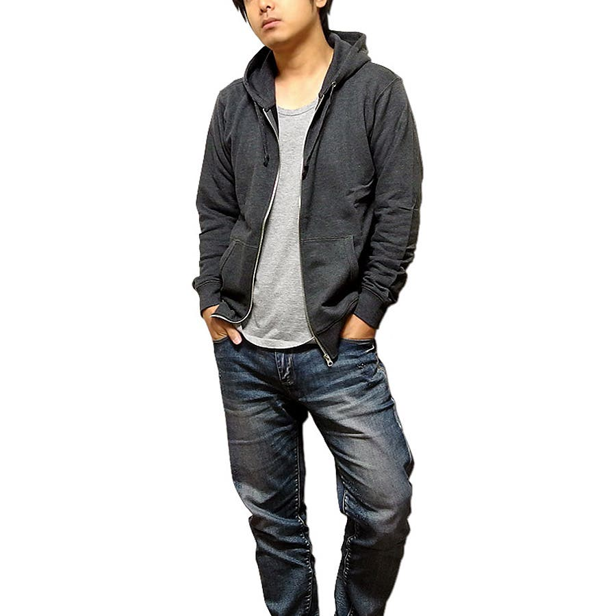 色も質感も最高! メンズファッション通販ジップパーカー メンズ ジップアップ パーカー 裏毛 無地 定番 3L ブラック 黒 杢グレー ネイビー TULTEX スポーツ アメカジ 豪商