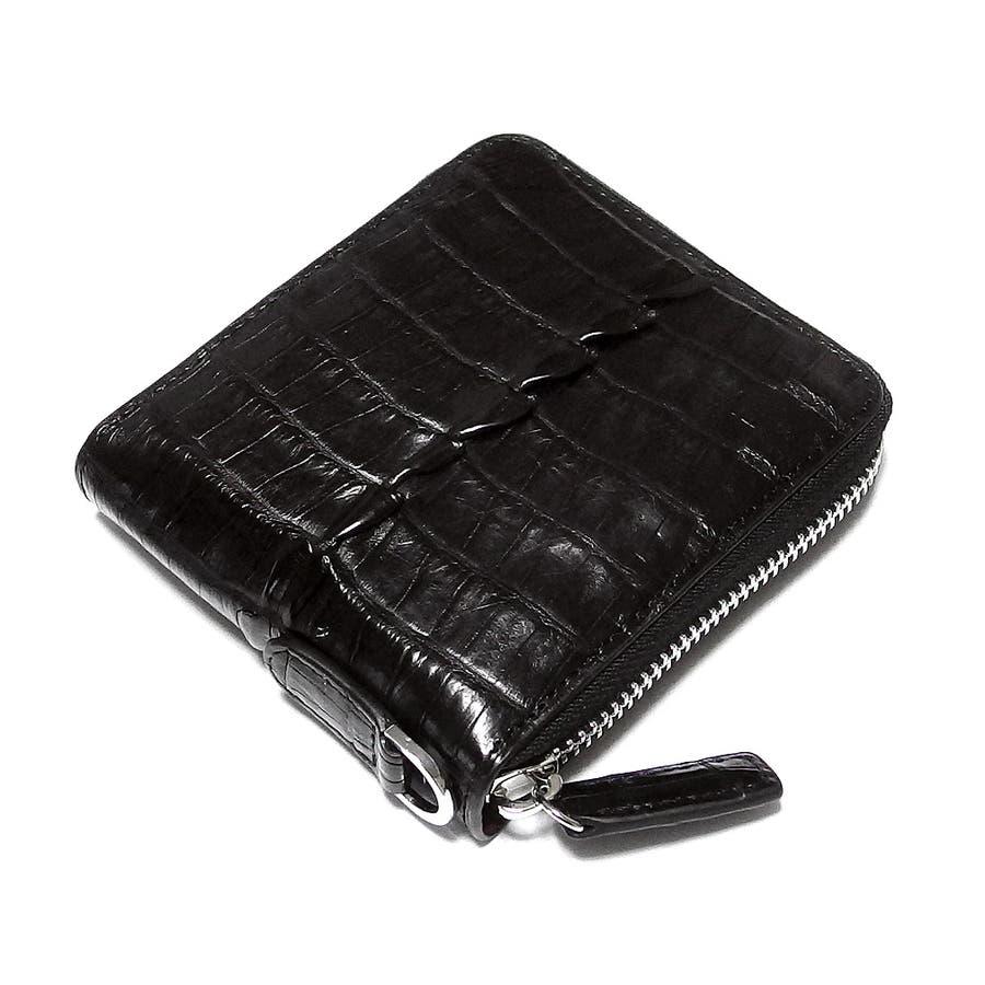 d61a82fd7115 財布 二つ折り レザー クロコダイル 本革 ラウンドファスナー 男性用 メンズ サイフ ワニ ブラック 黒