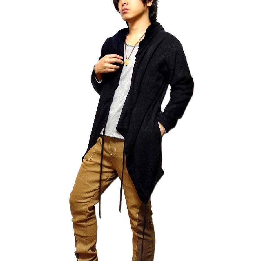 合わせやすい! メンズファッション通販ニット ロングカーディガン メンズ ロング丈 「Zadkiel Long Cardigan」紐で襟元と裾のシルエットを変えられるシャーリングニットロングカーディガン! 春物 激化