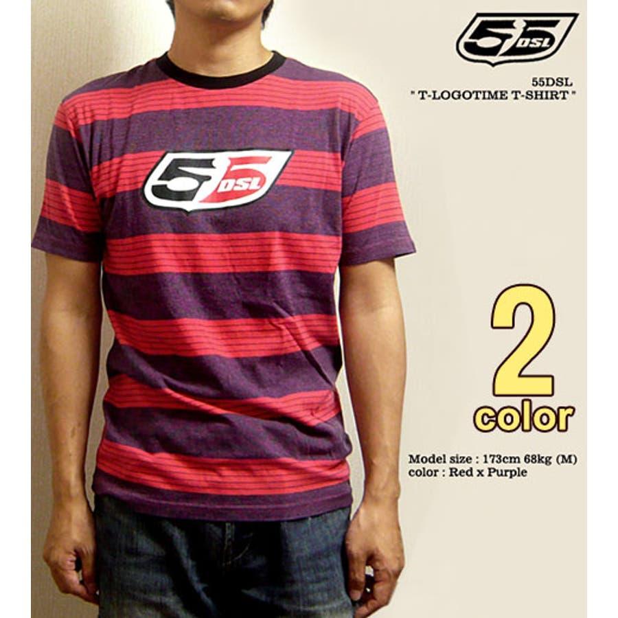 ファッションを最大限楽しもう メンズファッション通販55DSL フィフティーファイブ ディー エス エル  ブランドロゴプリントマルチボーダーTシャツ T-LOGOTIMET-SHIRT 同感