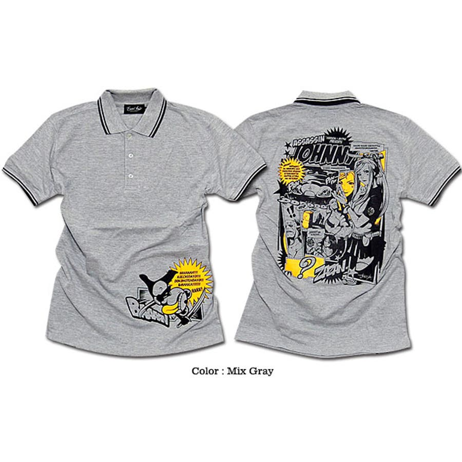 ポロシャツ メンズ アメコミ キャラクター プリント コラボ 半袖 メンズ 「ASSASSIN JOHNNY Polo Shirt(AC)」 jb style x EVERSOUL x ASSASSIN JOHNNYトリプルコラボ殺し屋ジョニーアメコミプリントライン入りポロシャツ! 5