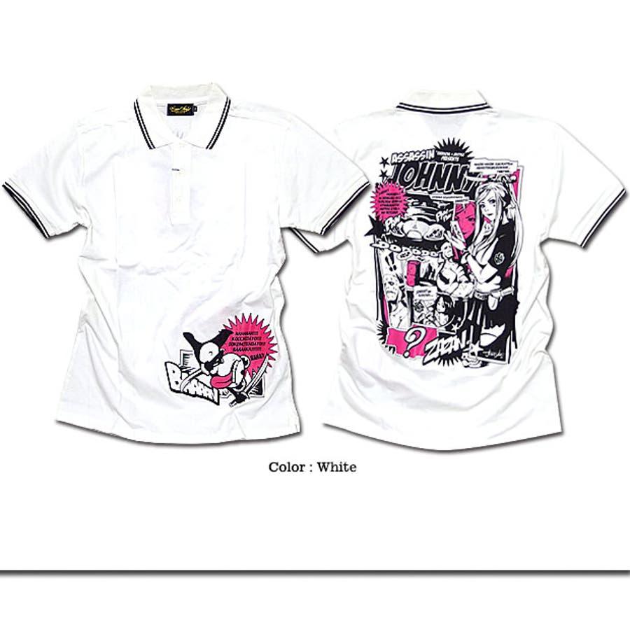 ポロシャツ メンズ アメコミ キャラクター プリント コラボ 半袖 メンズ 「ASSASSIN JOHNNY Polo Shirt(AC)」 jb style x EVERSOUL x ASSASSIN JOHNNYトリプルコラボ殺し屋ジョニーアメコミプリントライン入りポロシャツ! 6