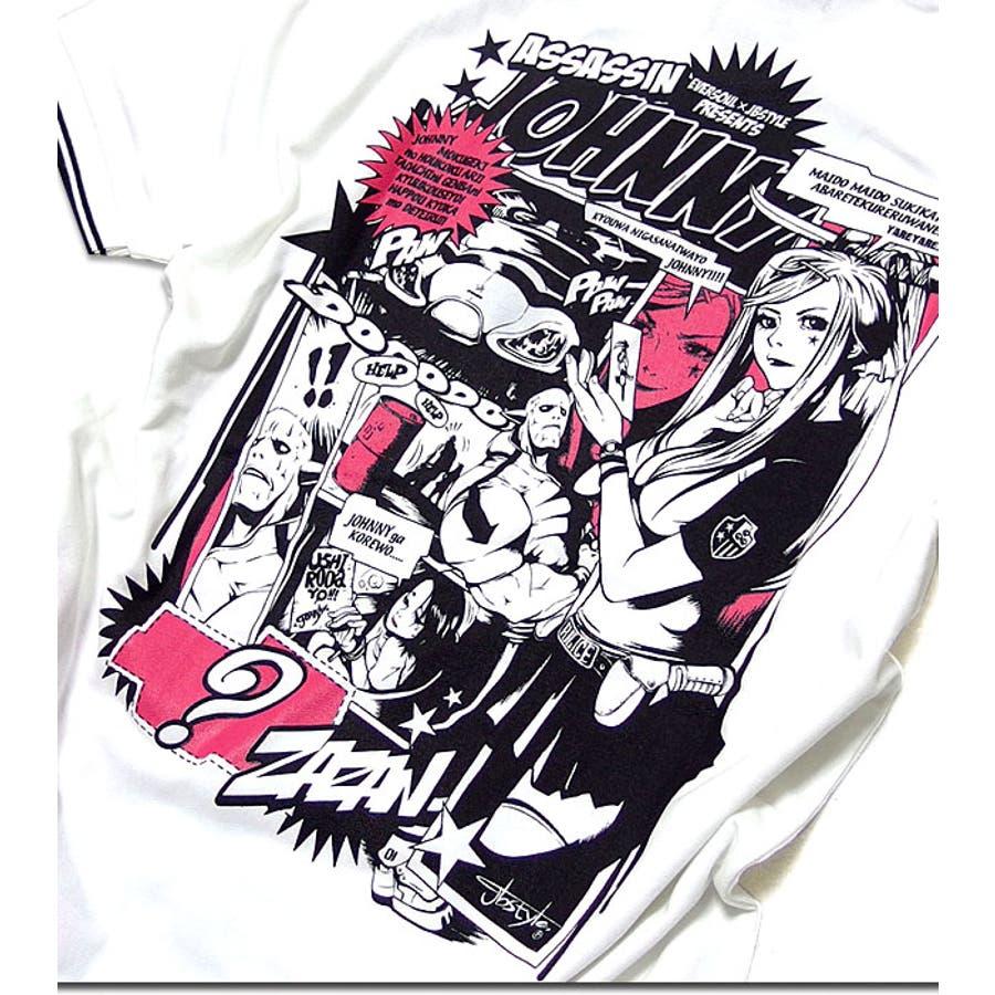 ポロシャツ メンズ アメコミ キャラクター プリント コラボ 半袖 メンズ 「ASSASSIN JOHNNY Polo Shirt(AC)」 jb style x EVERSOUL x ASSASSIN JOHNNYトリプルコラボ殺し屋ジョニーアメコミプリントライン入りポロシャツ! 7