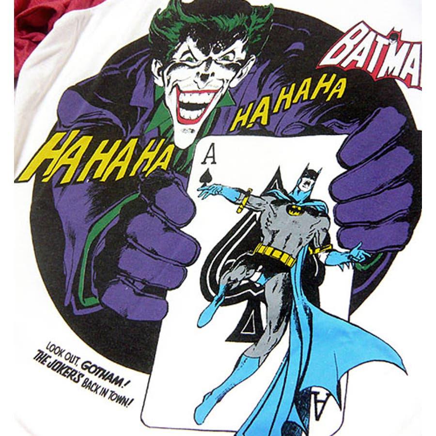 バットマン ジョーカー Tシャツ :,  バットマン×ミニットマースのビンテージ感溢れるアメコミプリントコラボ7分袖ラグランスリーブTシャツ!【バットマン 七分袖 グッズ, ダークナイト  ライジング】