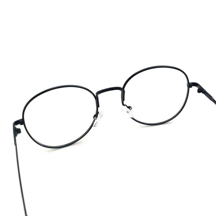 ボストン型アンティーク調UV 伊達メガネ 眼鏡 めがね UVカット UV400 紫外線 メタルフレーム サングラス 黒縁 黒ぶち ブラック シルバー ブラウン ゴールド 細フレーム クラシック レトロ 小顔 レディース メンズ 女性 男性 ユニセックス 7