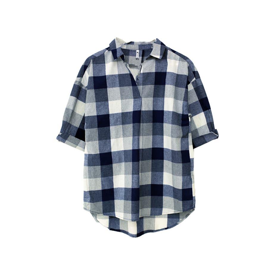 【大きいサイズ有】チェック柄タックスキッパーシャツ 2
