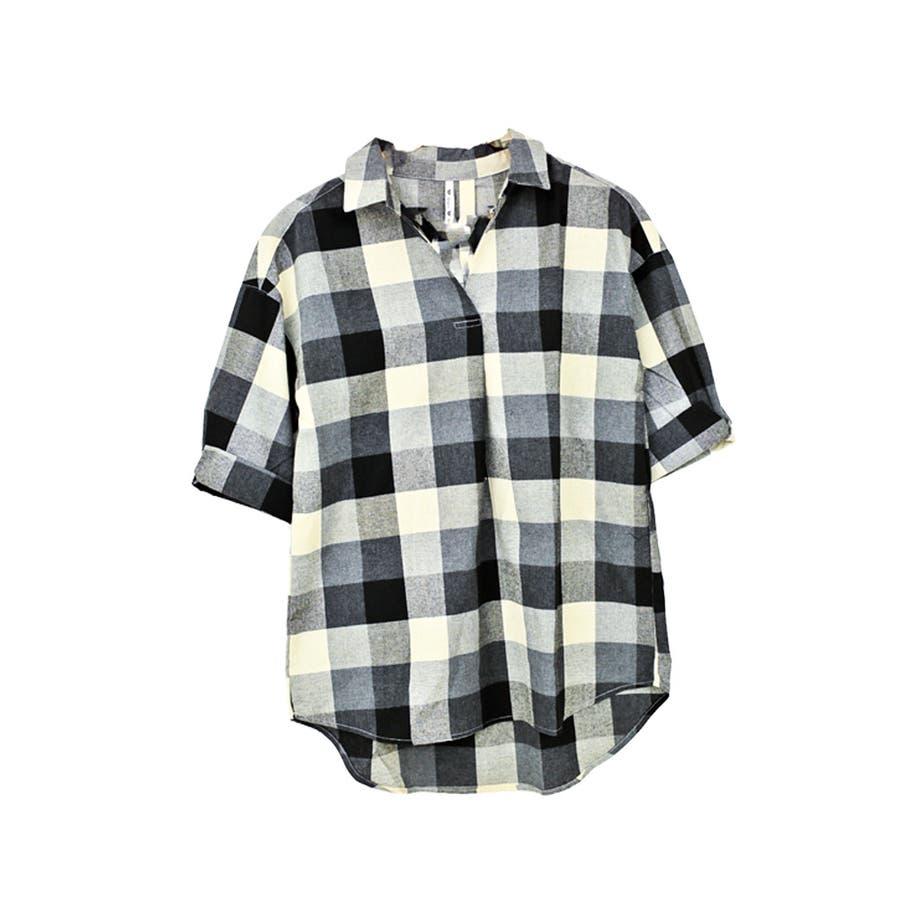 【大きいサイズ有】チェック柄タックスキッパーシャツ 3