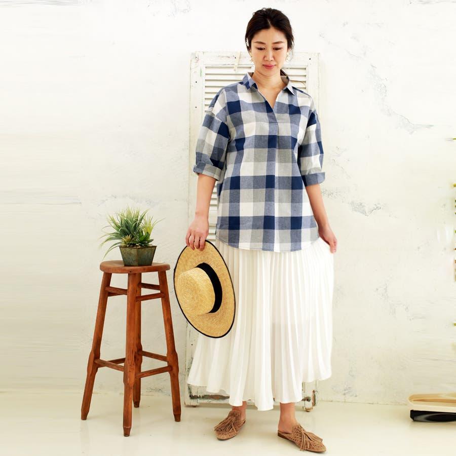 【大きいサイズ有】チェック柄タックスキッパーシャツ 4