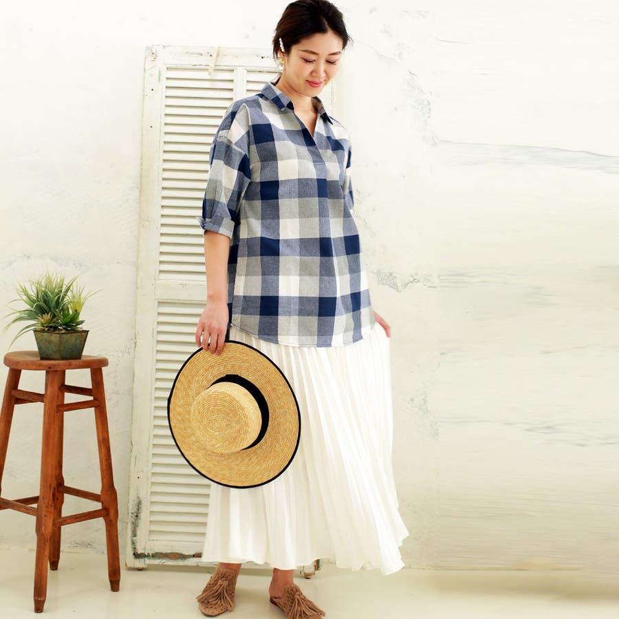 【大きいサイズ有】チェック柄タックスキッパーシャツ 6