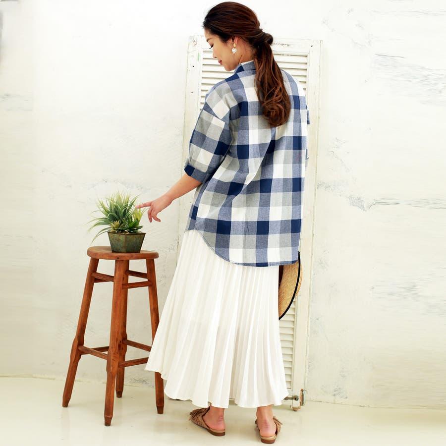 【大きいサイズ有】チェック柄タックスキッパーシャツ 8