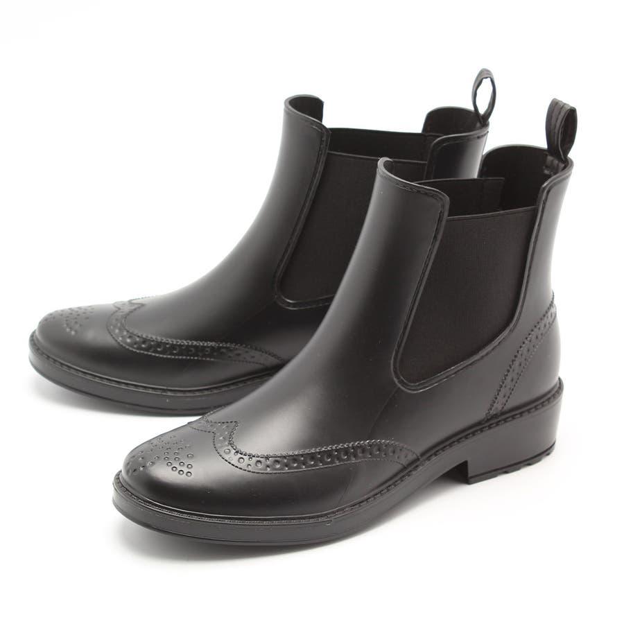 ウイングチップ サイドゴア レインブーツ カジュアル ショートブーツ レインシューズ 完全防水 雨靴 長靴 フェス 美脚 レディーススノーシューズ ガーデニングブーツ おしゃれ 大人 / 23cm 23.5cm 24cm 24.5cm 25cm / ブラックブラウン 21