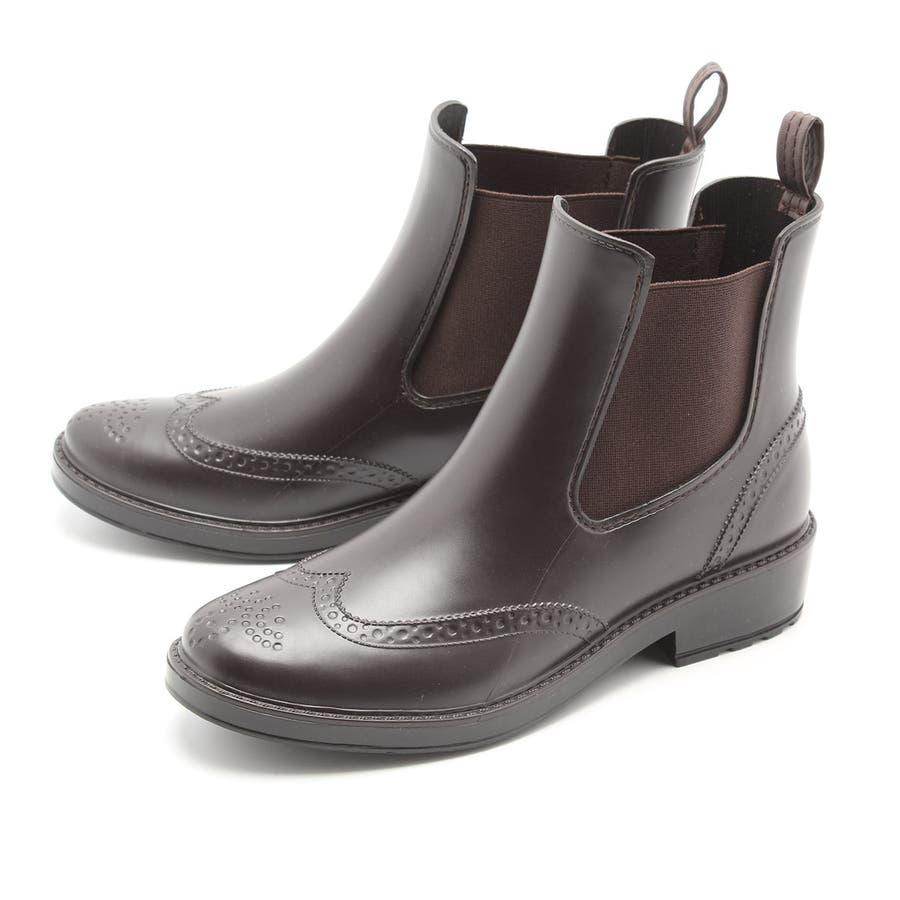 ウイングチップ サイドゴア レインブーツ カジュアル ショートブーツ レインシューズ 完全防水 雨靴 長靴 フェス 美脚 レディーススノーシューズ ガーデニングブーツ おしゃれ 大人 / 23cm 23.5cm 24cm 24.5cm 25cm / ブラックブラウン 31