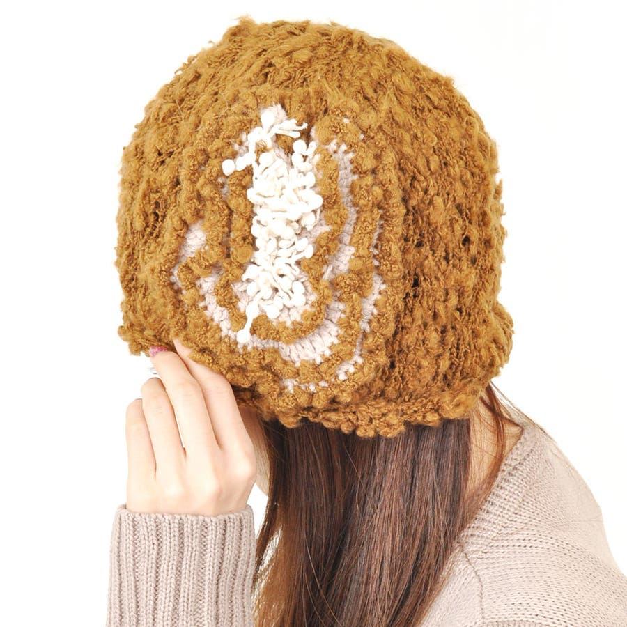 真似したくなる フリルコサージュニット帽 手風デザインニット 帽子 ブロガー 海外セレブ レディース 服 UVカット 秋冬 号車
