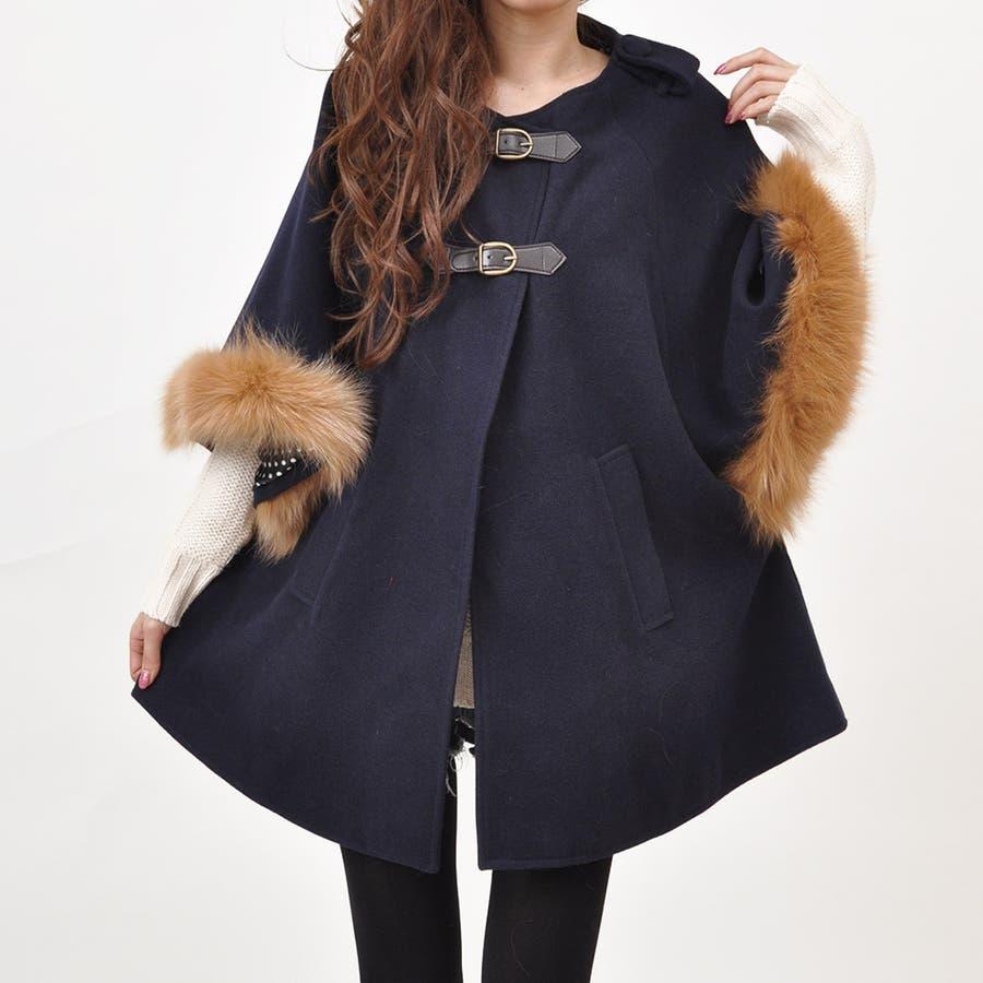 コートコート アウター コート アウターコート ファー付きポンチョコート ケープマントポンチョ ジャケットモッズコート