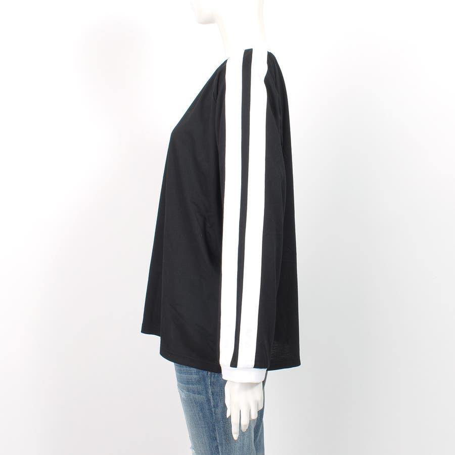 大人気のラインBIGシルエットのトップス◎袖が長めでゆるシルエットが可愛い★/オーバーサイズ/カットソー/長袖/春/韓国ファッション大きいサイズ ロンT Tシャツ 9