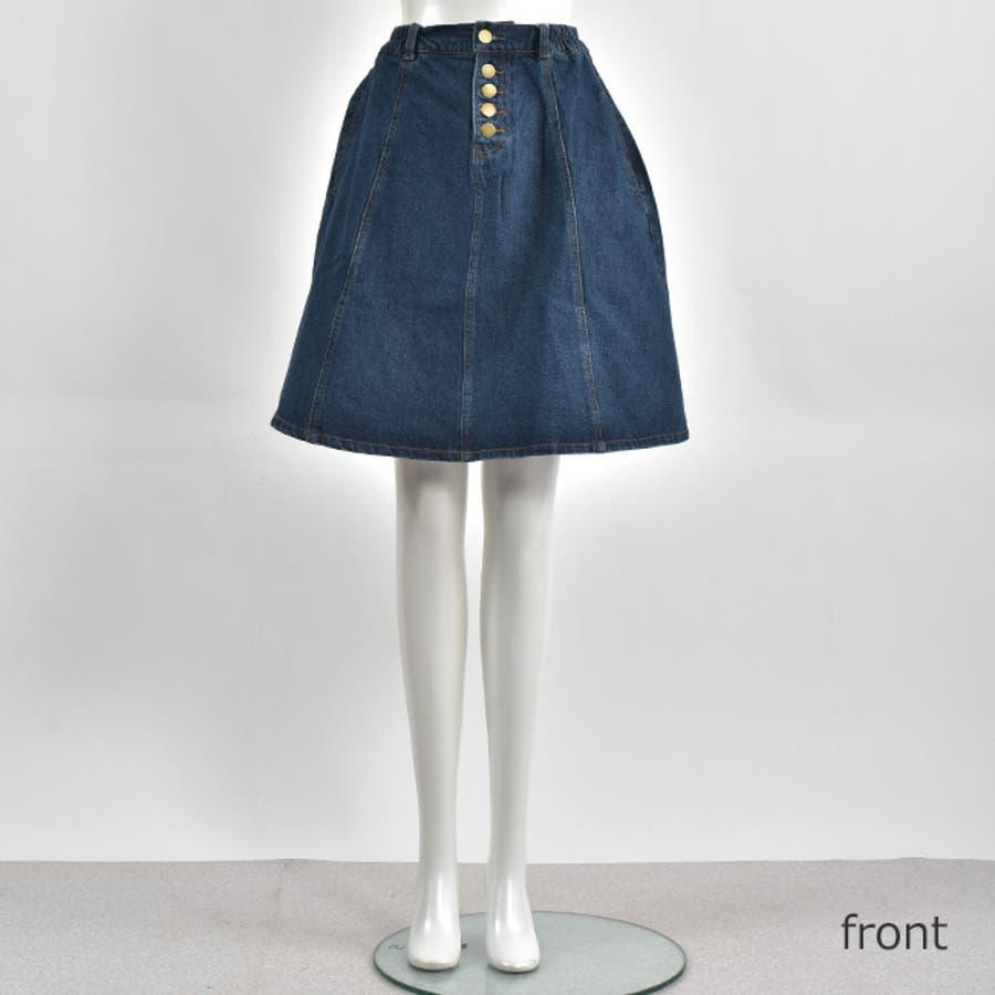 フロントボタンが今年らしいフレアな広がりのデニムスカート♪美脚効果有りなAラインスカート◎ウエストゴムで履き心地◎フレアデニムスカート/デニムスカート/膝丈スカート/デート/台形スカート/フェミニン/カジュアル春 ミニスカート 8