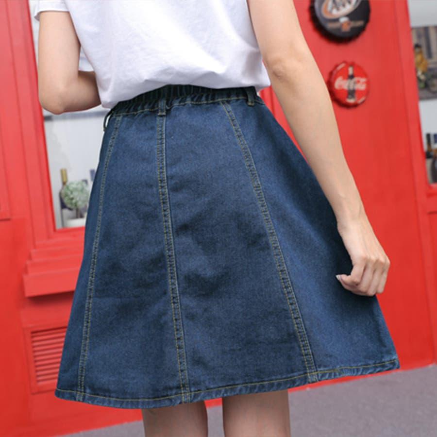 フロントボタンが今年らしいフレアな広がりのデニムスカート♪美脚効果有りなAラインスカート◎ウエストゴムで履き心地◎フレアデニムスカート/デニムスカート/膝丈スカート/デート/台形スカート/フェミニン/カジュアル春 ミニスカート 4