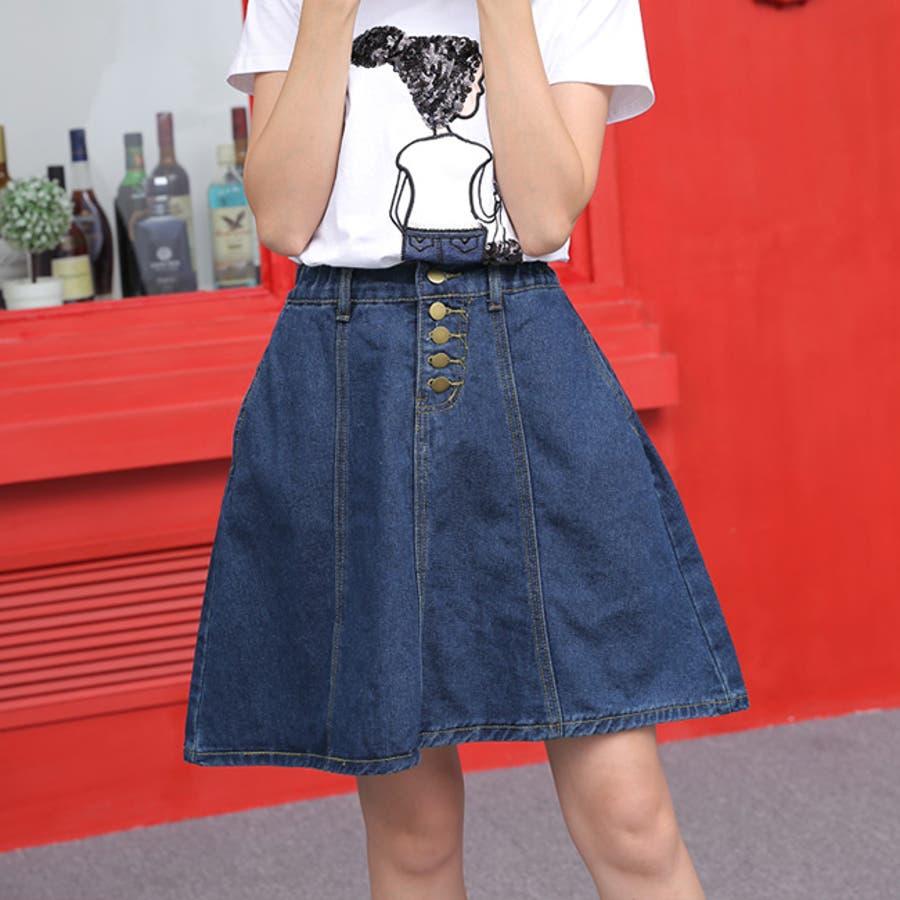 フロントボタンが今年らしいフレアな広がりのデニムスカート♪美脚効果有りなAラインスカート◎ウエストゴムで履き心地◎フレアデニムスカート/デニムスカート/膝丈スカート/デート/台形スカート/フェミニン/カジュアル春 ミニスカート 5
