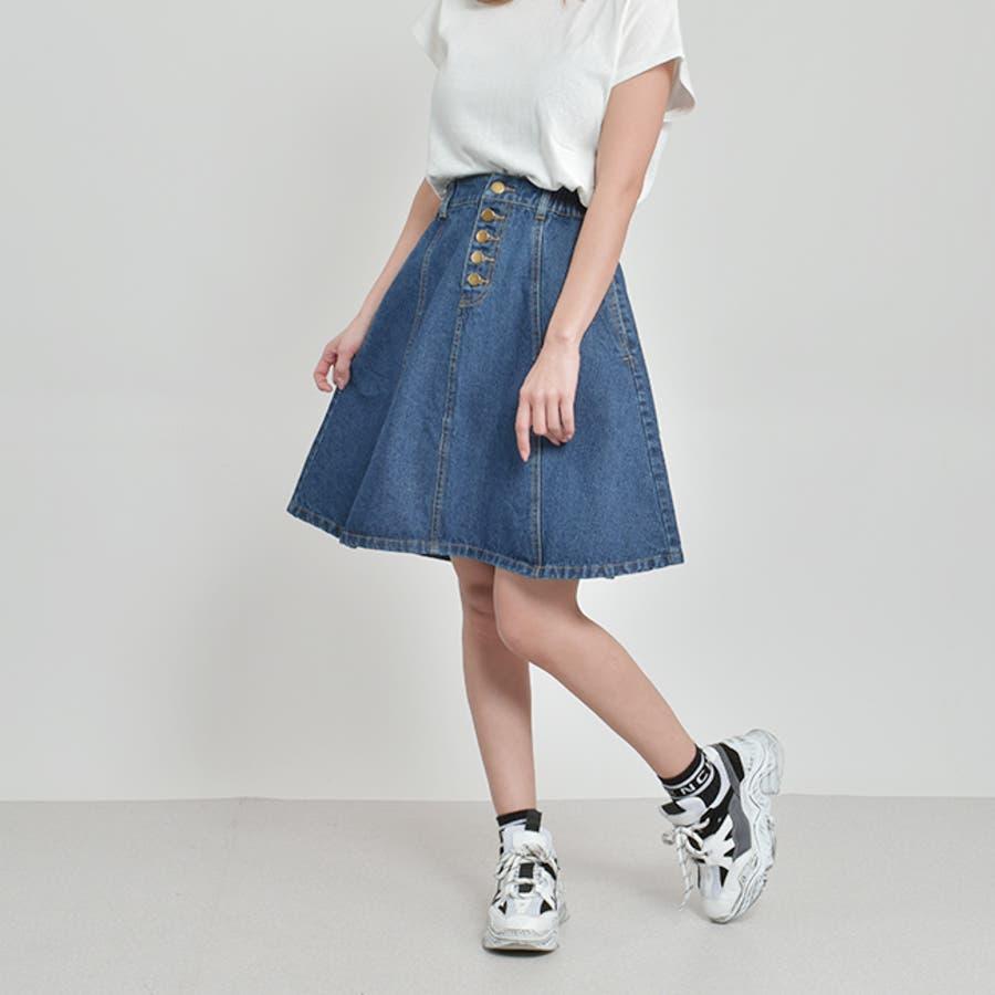 フロントボタンが今年らしいフレアな広がりのデニムスカート♪美脚効果有りなAラインスカート◎ウエストゴムで履き心地◎フレアデニムスカート/デニムスカート/膝丈スカート/デート/台形スカート/フェミニン/カジュアル春 ミニスカート 6