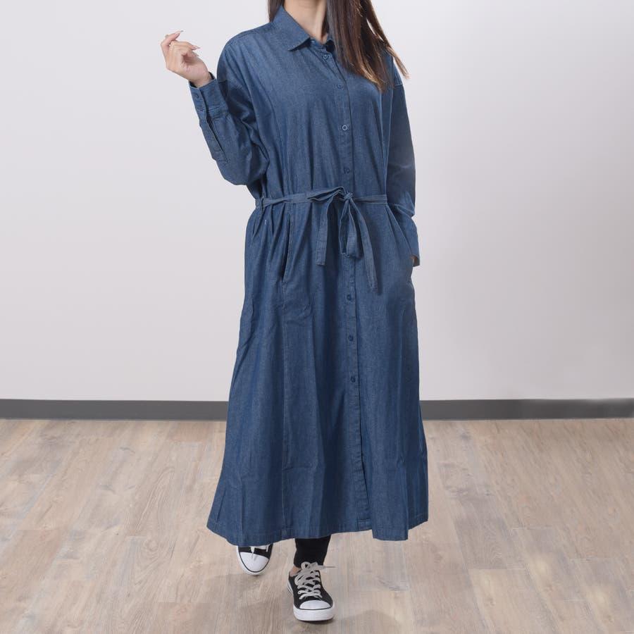 2020新作 デニムギャザーシャツワンピース 大人っぽく着れる◎羽織やワンピース 2