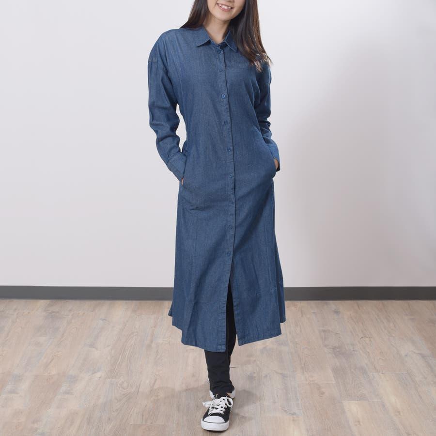 2020新作 デニムギャザーシャツワンピース 大人っぽく着れる◎羽織やワンピース 6