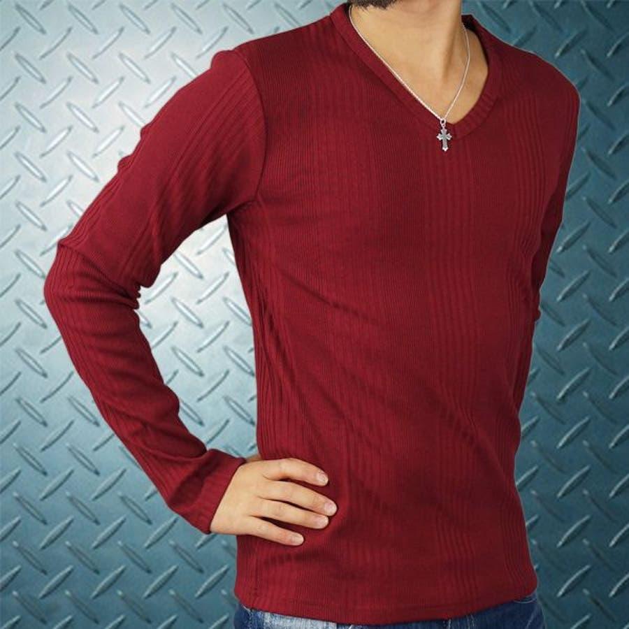 目指せお洒落優等生 メンズファッション通販メンズテレコVネック無地長袖Tシャツ ロンT  Vネック  650602-re  秋冬春 協働