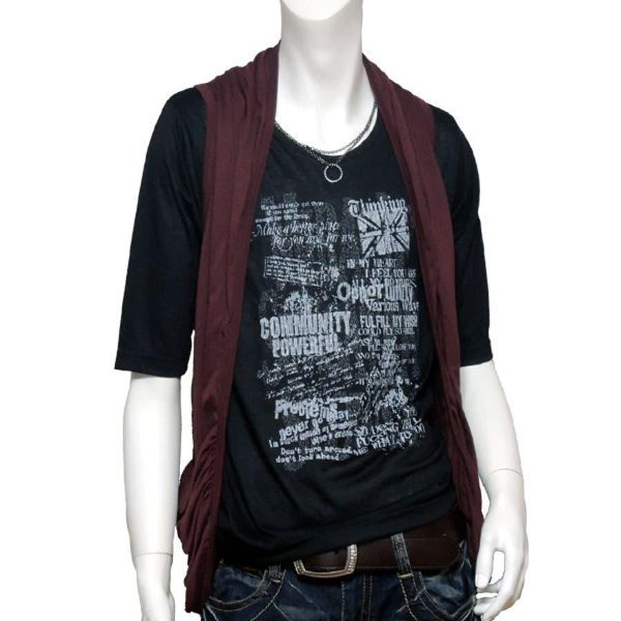 お悩み解消優秀アイテム メンズファッション通販メンズ ベスト シャーリングポケット付ジレTシャツセット 3273-6506  秋冬春 理合