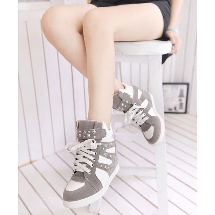 f117815dd69779 【秋冬新作】インヒールスニーカー レディース 疲れない 痛くない 歩きやすい グレー 靴 シューズ