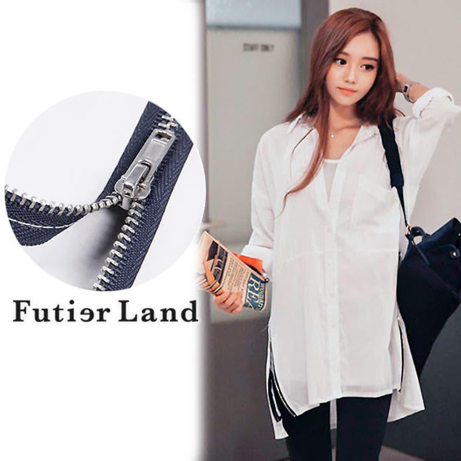 【春新作】シャツ ブラウス ホワイト デイリー 韓国ファッション サイドジッパー シンプル 大人可愛い 透け