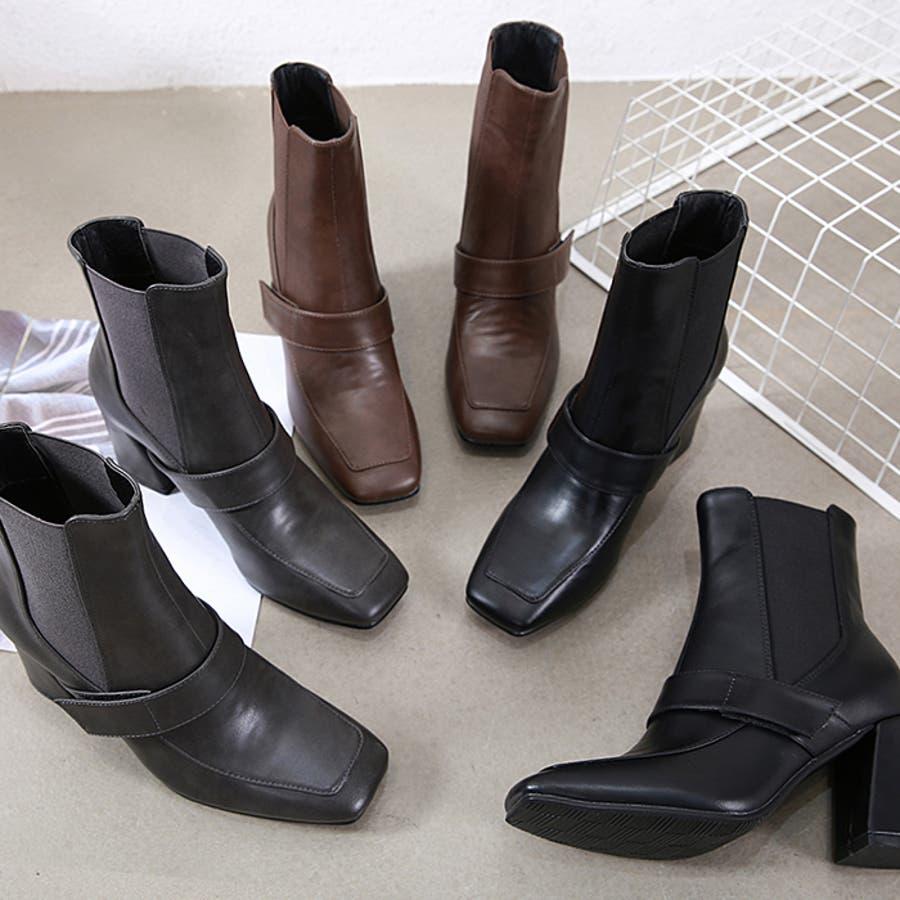 ショートブーツ ブーツ スクエアトゥ 2