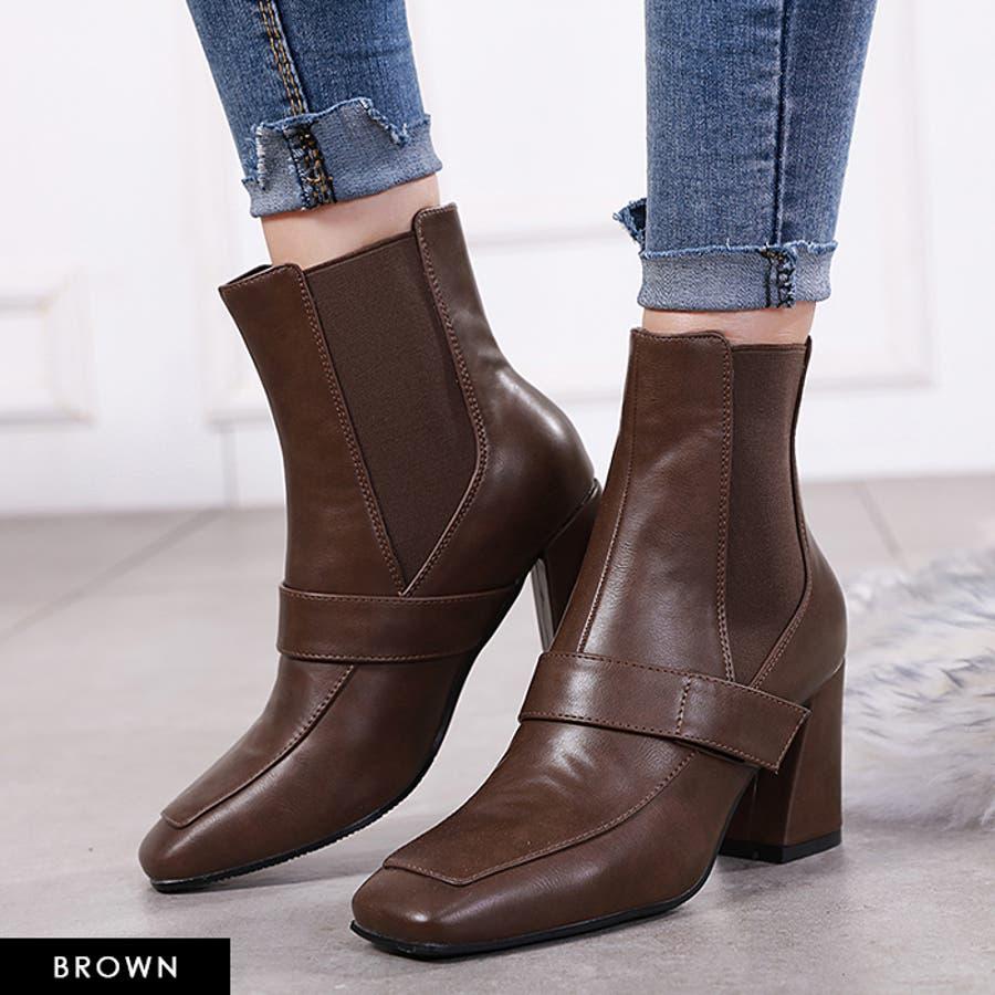 ショートブーツ ブーツ スクエアトゥ 8