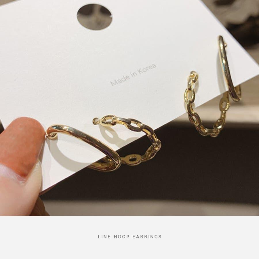 【夏新作】 ピアス Wライン フープピアス ゴールド アクセサリー チェーン 韓国 ファッション マタニティ 大きいサイズオフィスカジュアル / Wラインフープピアス 5