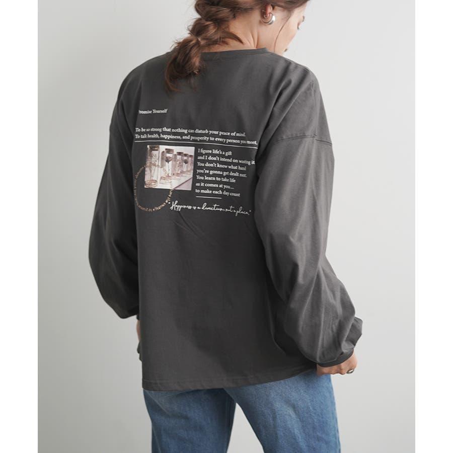 【秋冬新作】 バックプリント バックシャン ポケットTシャツ ロングTシャツ トップス ロンT ロゴプリント 韓国 ファッション /レターロゴプリントBIGロングTシャツ 21