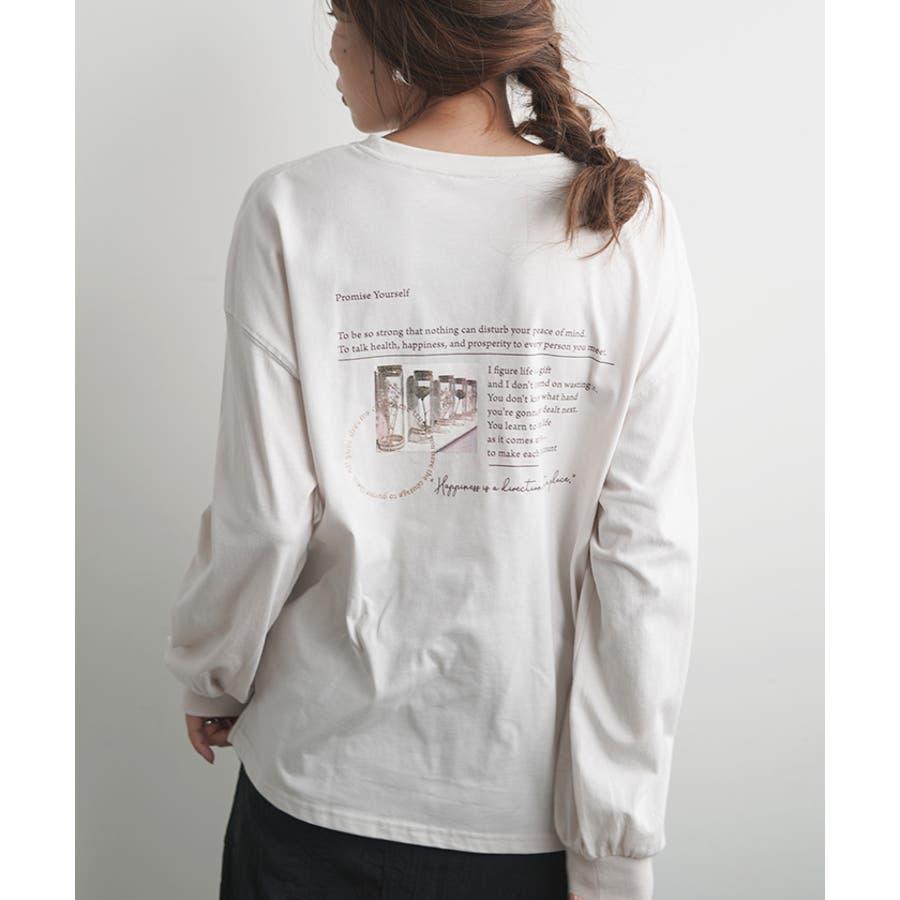 【秋冬新作】 バックプリント バックシャン ポケットTシャツ ロングTシャツ トップス ロンT ロゴプリント 韓国 ファッション /レターロゴプリントBIGロングTシャツ 18