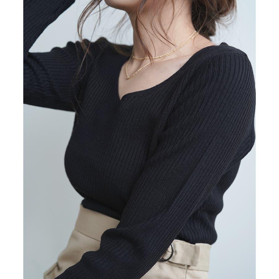 【秋冬新作】 Vネック ニット リブニット トップス ミニマル 韓国 ファッション / ミニマルVネックリブニット 21