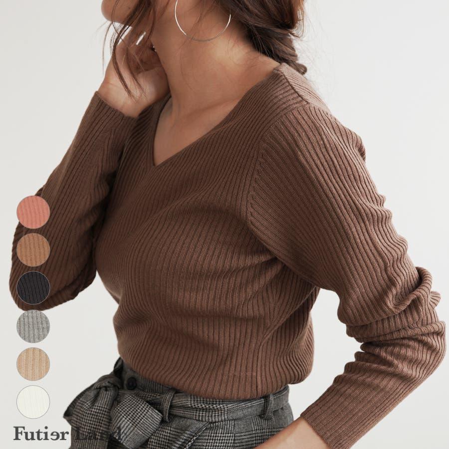 【秋冬新作】 Vネック ニット リブニット トップス ミニマル 韓国 ファッション / ミニマルVネックリブニット 1