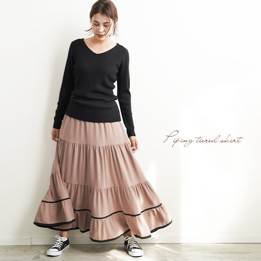 【秋冬新作】 ロングスカート スカート フレアスカート ウエストゴム パイピング 配色 フリル 韓国ファッション/パイピングティアードスカート 2