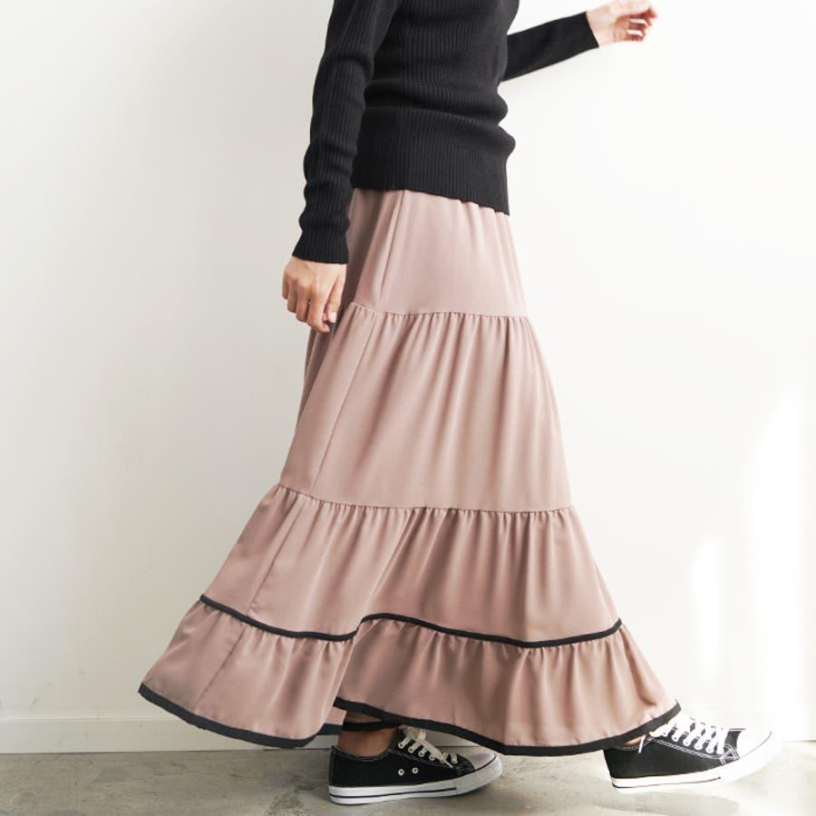 【秋冬新作】 ロングスカート スカート フレアスカート ウエストゴム パイピング 配色 フリル 韓国ファッション/パイピングティアードスカート 35