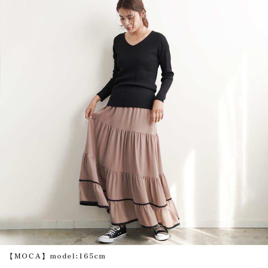 【秋冬新作】 ロングスカート スカート フレアスカート ウエストゴム パイピング 配色 フリル 韓国ファッション/パイピングティアードスカート 6