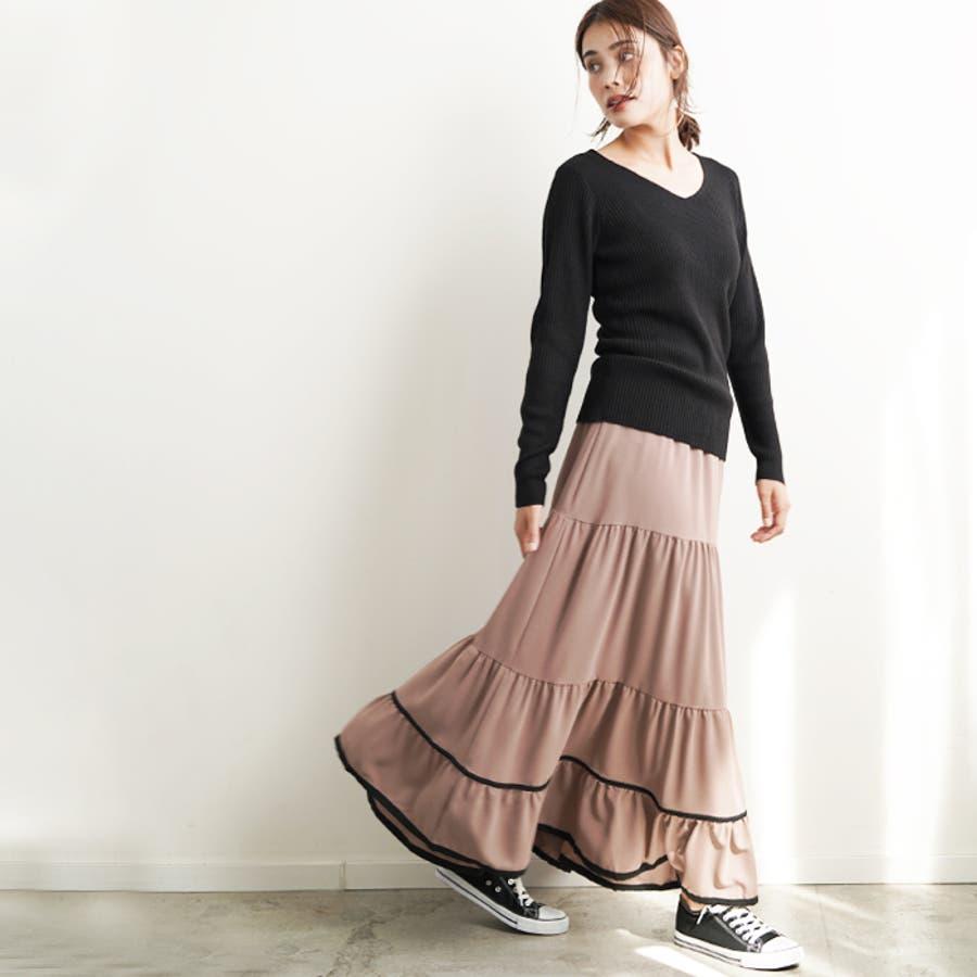 【秋冬新作】 ロングスカート スカート フレアスカート ウエストゴム パイピング 配色 フリル 韓国ファッション/パイピングティアードスカート 7