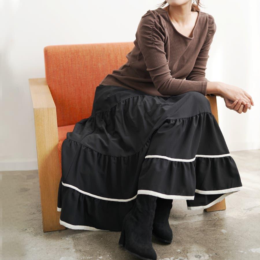 【秋冬新作】 ロングスカート スカート フレアスカート ウエストゴム パイピング 配色 フリル 韓国ファッション/パイピングティアードスカート 21